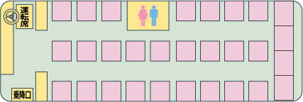 【CJX00037】ミルキーウェイCJ502 関西⇒関東 3列独立シートトイレ付き【独立3列トイレ付き最後尾4列】
